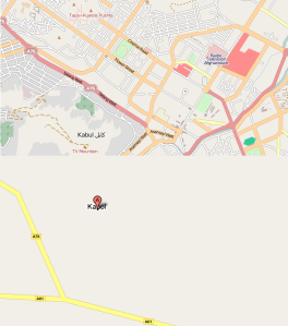 Kabul i Open Street Map och Google Maps